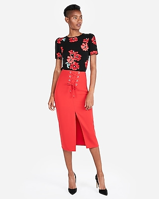 petite floral crew neck puff sleeve top