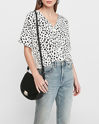 Express Womens Printed Button Front Dolman Sleeve Tee