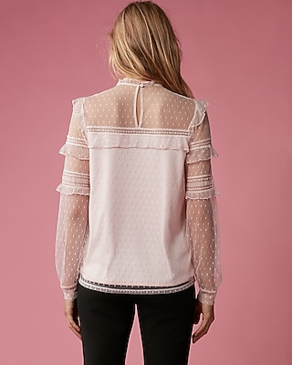 Pieced Lace Long Sleeve Blouse | Express