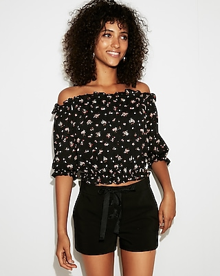 petite floral textured off the shoulder cropped top