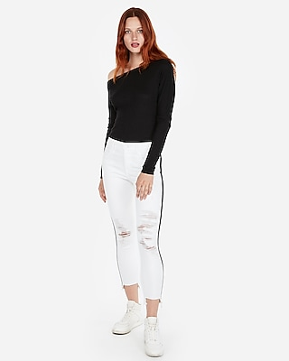 Ribbed Off The Shoulder Long Sleeve Tee by Express