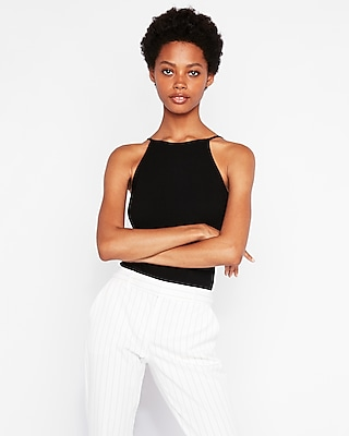 Ribbed High Neck Essential Bodysuit by Express