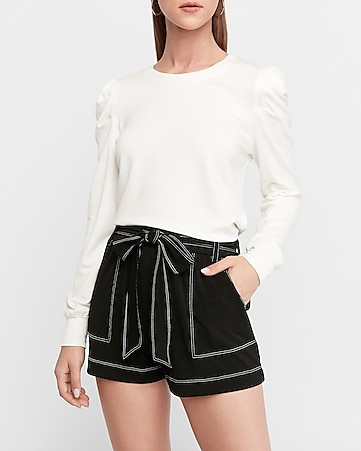 super high waisted knit sash tie utility shorts
