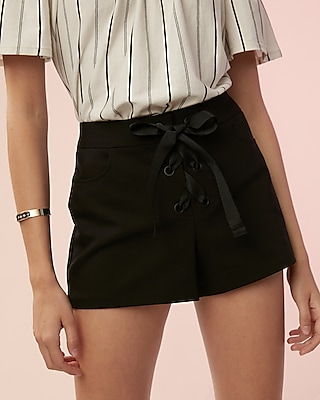 Mid Rise Lace Up Shorts by Express