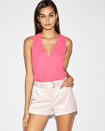 mid rise satin belted shorts