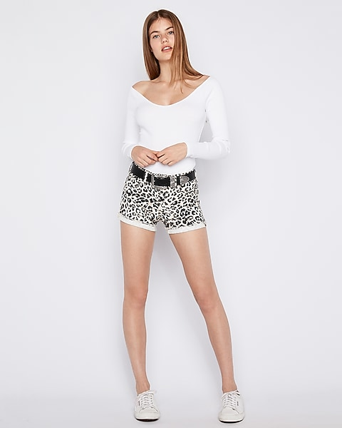 5e2c588495 Mid Rise Leopard Supersoft Flip Hem Shorts