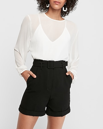 super high waisted belted bermuda shorts