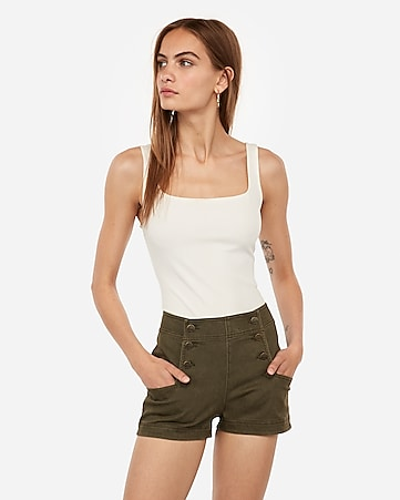 high waisted button front twill shorts