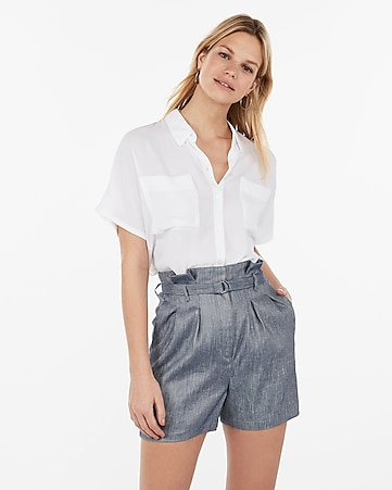 10809bb4ba77 super high waisted linen-blend pleated belted shorts