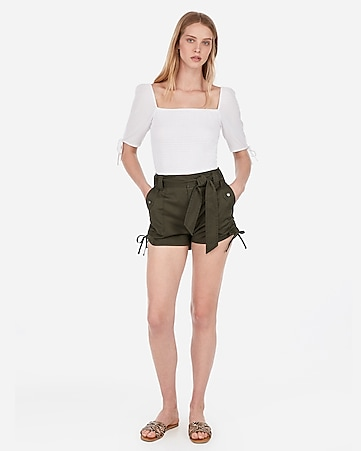 5626e9e4c89 high waisted belted cinched cargo shorts