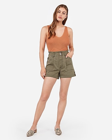 super high waisted cinched utility shorts
