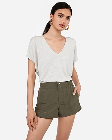 mid rise pull-on utility shorts