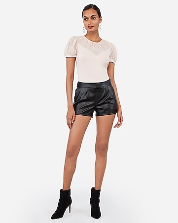 mid rise vegan leather pleated shorts