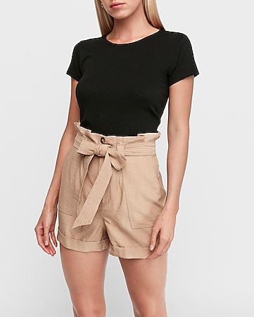 super high waisted paperbag cargo shorts