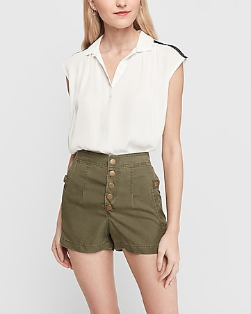 high waisted button front utility shorts