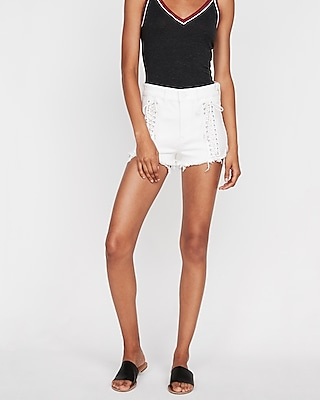 High Waisted Raw Cut Lace Up Stretch Denim Shorts by Express