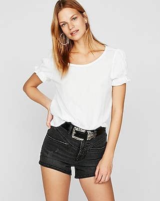 Super High Waisted Yoke Front Denim Shorts by Express