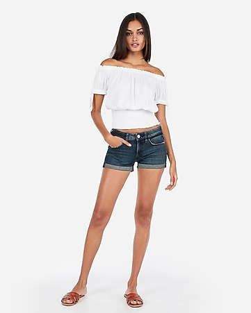 Women S Denim Soft High Waisted Shorts Express