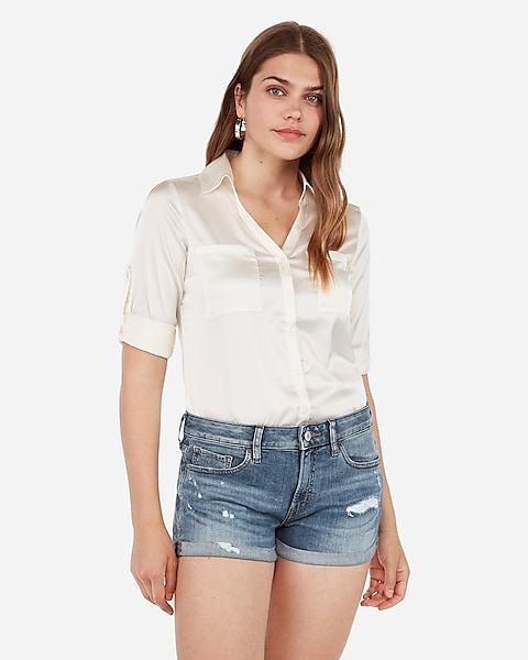 59ab638fcdecd Low Rise Relaxed Double Roll Denim Shortie   Express