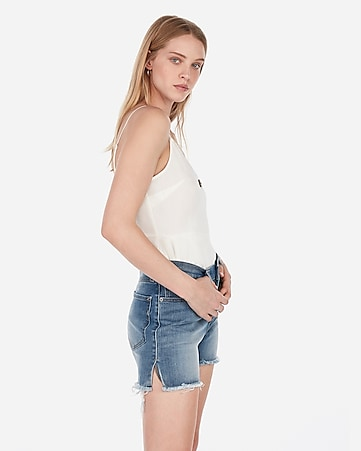 a04b813d1 High Waisted Dark Wash Double Roll Stretch+ Denim Shorts | Express