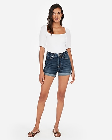 eefe21b7c4d high waisted dark wash double roll stretch+ denim shorts