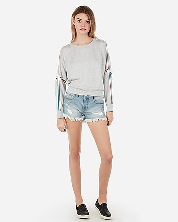 low rise light wash distressed denim shorts