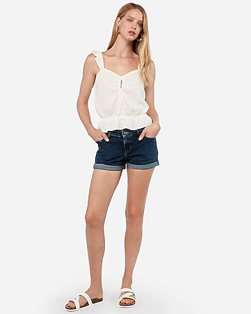 c04a3fbaa High Waisted Denim Perfect Curves Rolled Hem Shorts | Express