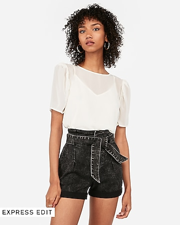3369a0039204 Super High Waisted Sash Tie Raw Hem Twill Shorts | Express