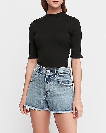 super high waisted mom jean shorts