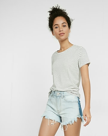 high waisted two tone cutoff shorts