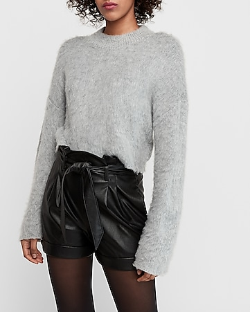 super high waisted paperbag vegan leather shorts