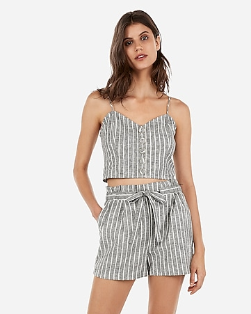 super high waisted striped linen-blend sash tie shorts