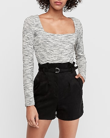 super high waisted suede belted paperbag shorts