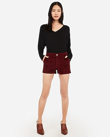 high waisted seamed front corduroy shorts