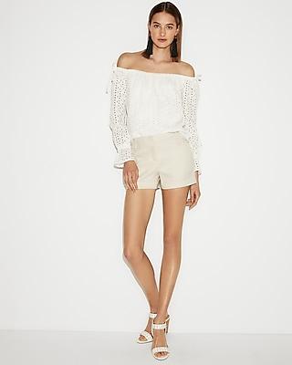 Low Rise Linen-Blend Shorts