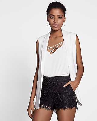Lace Shorts with Bow