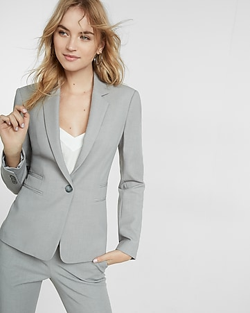 petite light gray one button 24 inch jacket