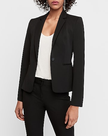 Express View · notch collar one button blazer 7187f0703e