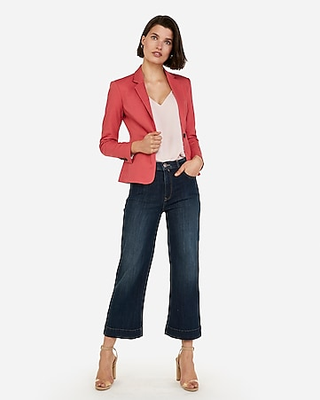 2b32bdcbf39 Express View · notch collar one button blazer