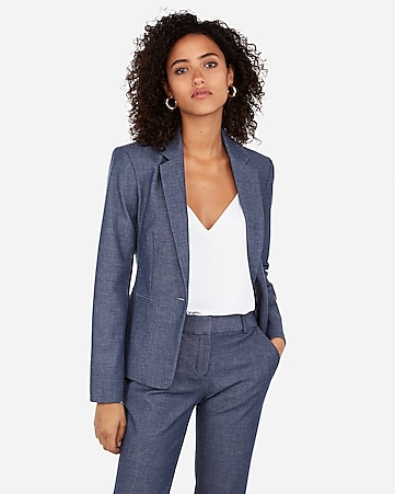 9e116f8189e9a5 Express View · notch collar one button blazer