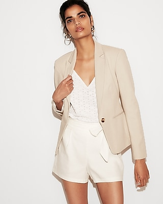 petite notch collar one button jacket