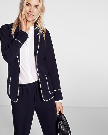 piped pajama collar two-button jacket