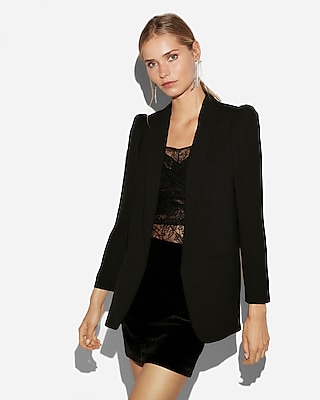 Express View  C2 B7 Puff Sleeve Boyfriend Blazer