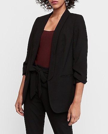 9d75c6f7c544 Express View · ruched sleeve boyfriend blazer
