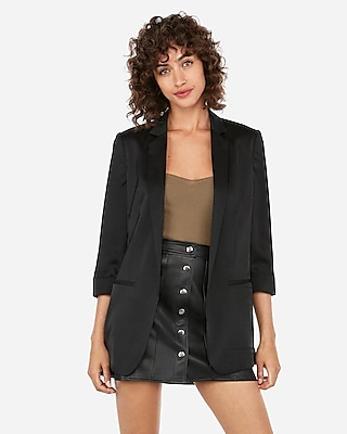 Express View  C2 B7 Notch Collar Boyfriend Blazer