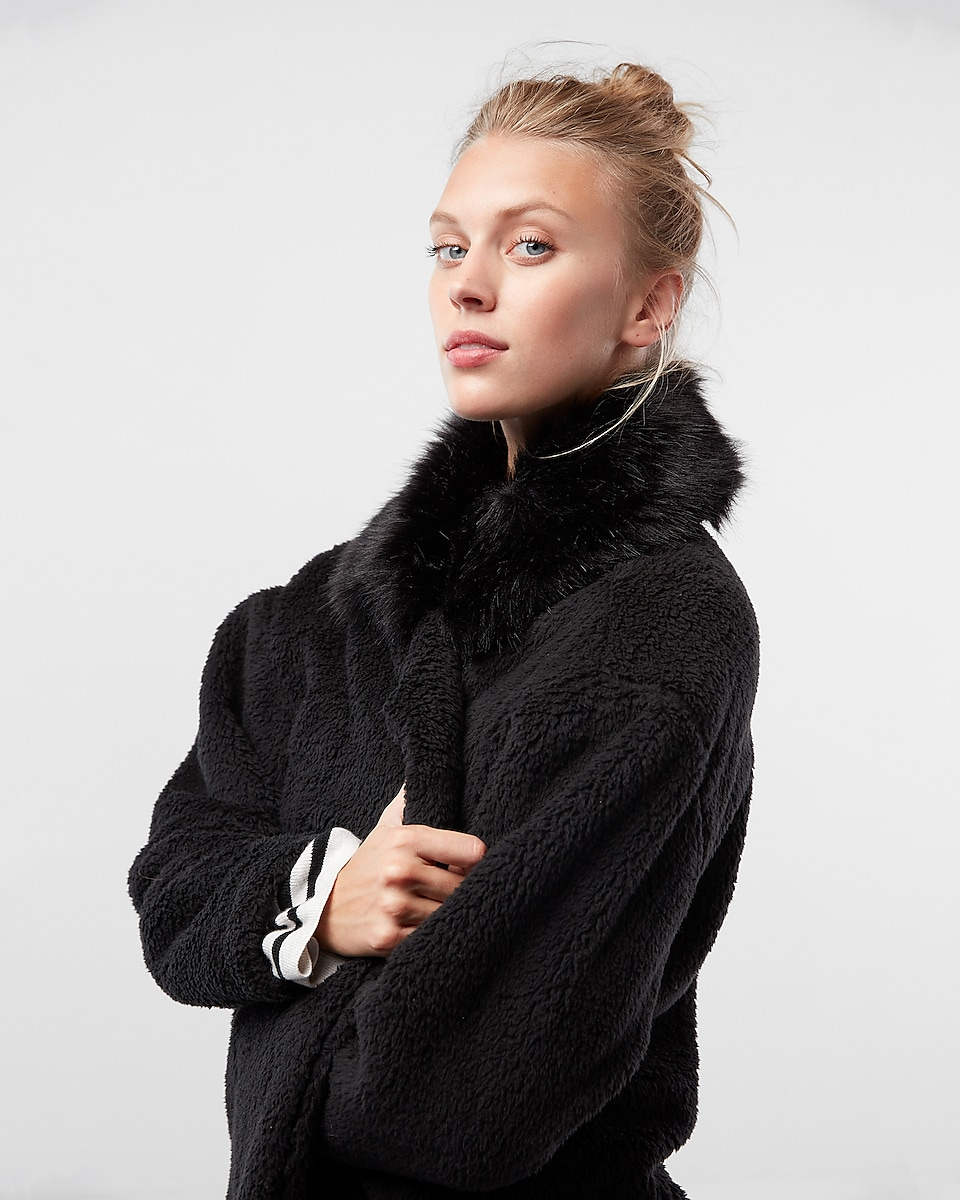 Long Oversized Faux Fur Collar Fleece Jacket | Express