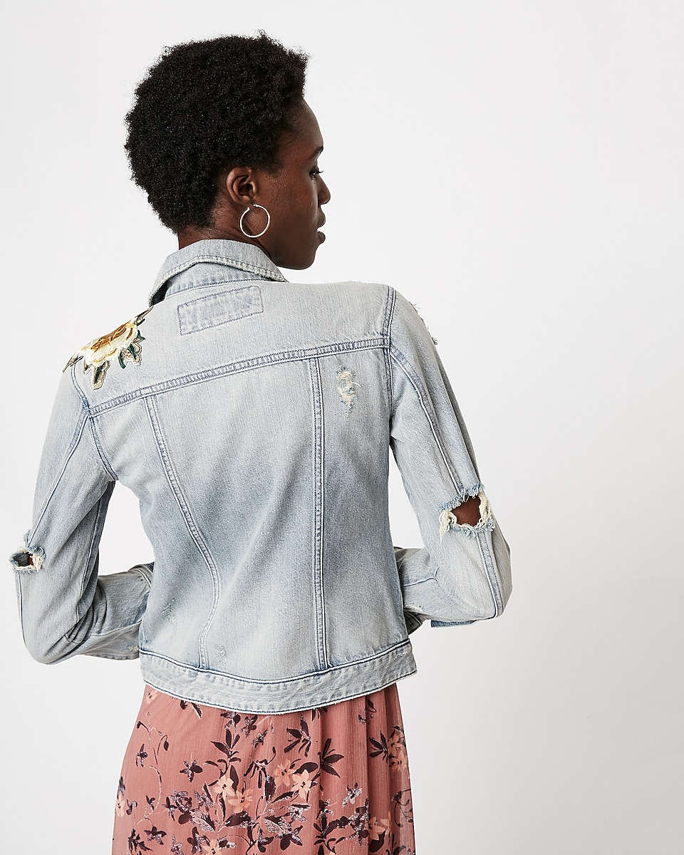 Denim Trucker Jacket With Floral Embroidery Express
