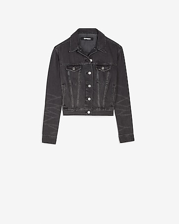 Black Denim Easy Trucker Jacket by Express