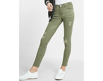 petite mid rise raw hem five pocket ankle leggings