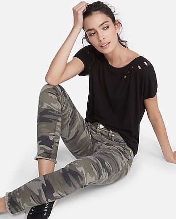 petite mid rise camouflage print ankle jean legging